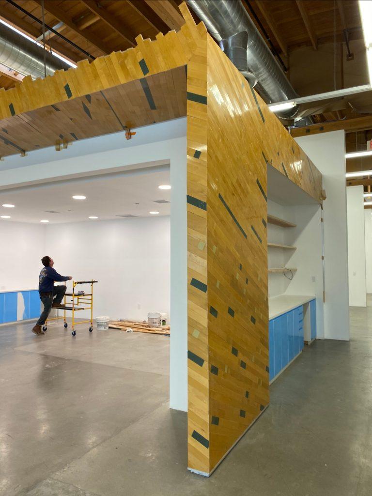 reclaimed gym floor individual planks