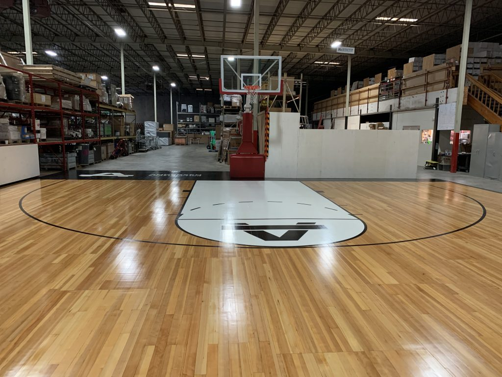 Finished reclaimed gym floor